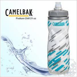 【CAMELBAK】Podium Chill 610ml軟殼保冷水瓶.噴射水瓶.運動水壺.0.61L水壺.雙層瓶身.保冷.耐撞擊.抗菌/藍 52255