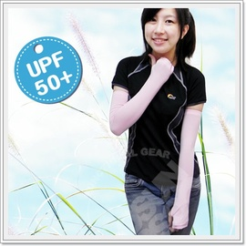 【美國杜邦】《↑UPF50+》(可遮手)中性抗UV透氣彈性袖套-COOLPLUS纖維.手套.防曬袖套.適合自行車.騎機車/粉 FB-137