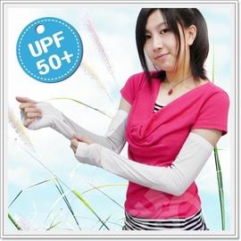 【美國杜邦】《↑UPF50+》(可遮手)中性抗UV透氣彈性袖套-COOLPLUS纖維.手套.防曬袖套.適合自行車.騎機車/白 FB-137