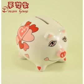 歐風 彩繪小豬存錢筒  撲滿^(小^)B35情人節~↘6折 ~