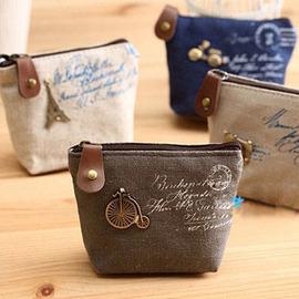 浪漫古典~記憶永恆 立體金屬吊飾 麻布零錢包 /造型收納零錢包/小物收納袋