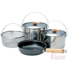 CS-023日本Snow Peak不鏽鋼鍋具組(M)四件組/煎鍋/湯鍋/飯鍋/瀝水籃/日本製造
