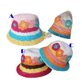 日單彩色立體花朵竹籐編織帽 遮陽帽^(適頭圍52cm^)
