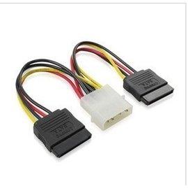 主機板  IDE大4P(公)轉2 SATA(母) 一分二 電源線/4PIN排線