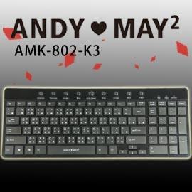 ~AndyMay2~AMK~802 ~K3巧克力超薄鍵盤 USB ^(黑^)
