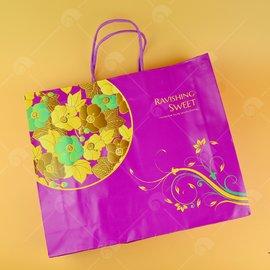 【艾佳】花朵紫手提紙袋/個
