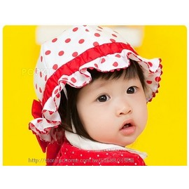 韓國 可愛點點蝴蝶結 遮陽帽 漁夫帽 公主帽  頭圍49cm