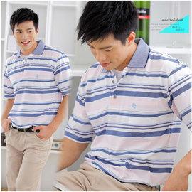 ~大盤大~ P60585  男 夏 零碼M號 短袖POLO衫 橫條紋棉衫  薄 透氣 涼感