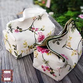 面紙盒套— 手感系列 鄉村風棉麻手繪花卉桌上型面紙盒套  價~ 民族~