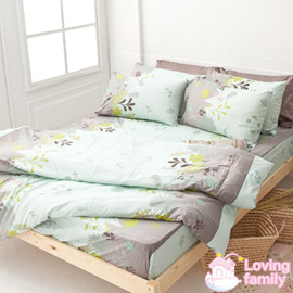 ~戀家小舖~純棉雙人特大床包 鋪棉兩用被套組~香草綠C01~AAC515