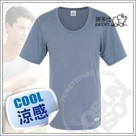 【瑞多仕-RATOPS-消暑對策】男款 Coolmax 圓領快乾排汗內衣.吸濕.快乾.抗UV.降溫.隔熱/鐵灰 DE7002 V