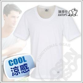 【瑞多仕-RATOPS-消暑對策】男款 Coolmax 圓領快乾排汗內衣.吸濕.快乾.抗UV.降溫.隔熱/白 DE7003 V