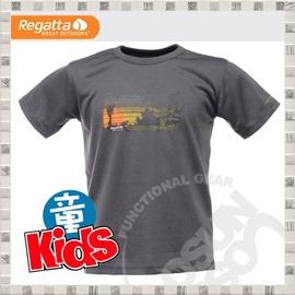 【英國 REGATTA 】Kids Luxo Graphic T-Shirt 兒童短袖排汗T恤.吸濕.快乾..抗污.戶外.休閒/灰 RKT032 B