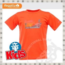 【英國 REGATTA 】Kids Luxo Graphic T-Shirt 兒童短袖排汗T恤.吸濕.快乾..抗污.戶外.休閒/橘紅 RKT032 B