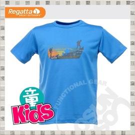 【英國 REGATTA 】Kids Luxo Graphic T-Shirt 兒童短袖排汗T恤.吸濕.快乾..抗污.戶外.休閒/藍 RKT032 B