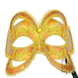 ~QUEENWOODS~^~面具^~派對系列:橘面金紋 蝶面綁帶 春日蝴蝶^(party
