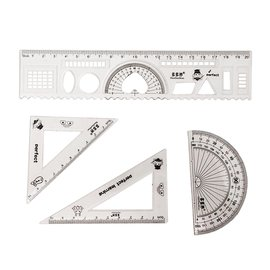 【Q禮品】A1234 夾鍊袋裝透明套尺組/量角器圓規三角板尺規建築室內設計製圖美工文具組