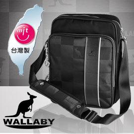WALLABY 袋鼠牌~MIT 休閒側肩包 HCK~1118~真皮配皮 防刮級緹花布 杜邦