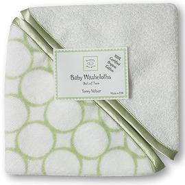 美國【Swaddle Designs】有 機嬰兒洗澡毛巾-綠 (2入)
