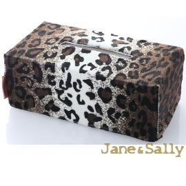 【Jane Sally】 圖騰系列面紙盒套  咖啡豹紋  3件