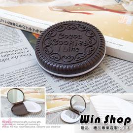【winshop】A1237巧克力夾心餅乾梳鏡組/摺疊折疊鏡子梳子梳妝鏡化妝鏡隨身鏡