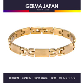 GERMA JAPAN~天皇~X金~金屬鍺3碇 磁石2碇純鈦手鍊 T0012