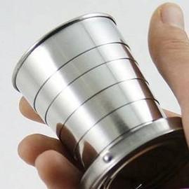 超實用不銹鋼伸縮杯折疊杯 (附鑰匙圈) [BOM-00023]