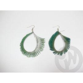 ~QUEENWOODS~^~民俗系列^~耳環 耳飾:月芽彎水滴型~孔雀綠羽毛 耳針 耳掛式