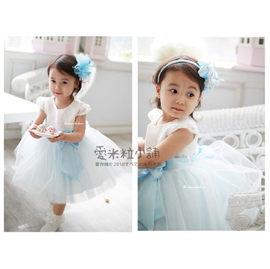 A15 結婚 親子拍照 天藍繡花婚紗兒童禮服 花童表演服裝 婚禮 音樂會 ~愛米粒~ A1