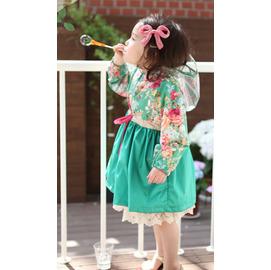 M: 小溪鳴  韓國正貨 總編  品牌Amber原單~唯美派淑女小雨衣 花布與束腰抽繩 透