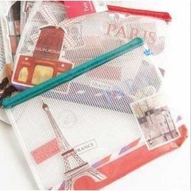 復古巴黎 拉鍊收納網袋A5 ◇/零錢袋/票據袋/網格袋資料袋 拉鍊收納袋