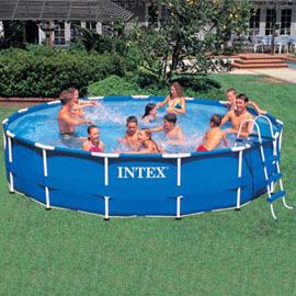美國 INTEX 56942 圓形管架水池 大型家庭遊泳池 簡易兒童水池 15 管架水池套