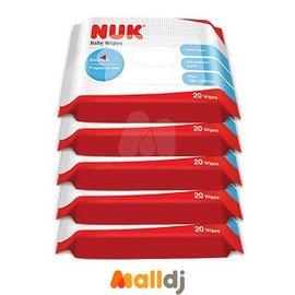 MallDJ親子 網 ~ NUK 新加厚型柔濕巾隨身包 組~20抽x5入~ ^#PB010