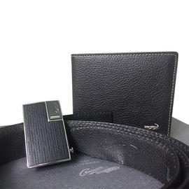 加賀皮件 Crocodile 鱷魚牌 父親節限定精美 ~黑帶頭自動皮帶 皮夾 組0105~