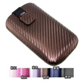 Nokia X2-02 卡夢紋直式拉取式手拿包/保護套 ( 抽拉式/附手拿帶)
