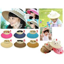 【HH婦幼館】親子款圓點絲帶可折疊遮陽帽 空頂帽/小熊造型草帽(小孩款)