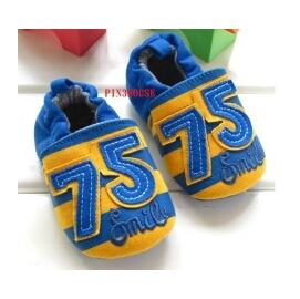 ~歐單~小童休閒款橘黃與藍色條紋相間立體75繡花軟布寶寶學步鞋 布鞋 11 12CM