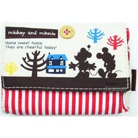 _米奇米妮 剪影 紅白條紋 帆布  面紙收納包 卡片收納包 小物收納包