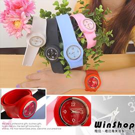 【winshop】A1299 果凍減壓負離子手錶(大)/石英錶手環手腕運動手錶矽膠橡膠拍拍錶