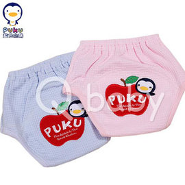 Qbaby PUKU藍色企鵝 蘋果繡花練習褲