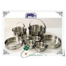 大林小草~【KS-45】犀牛 RHINO 四人不銹鋼輕便套鍋、家庭鍋具組