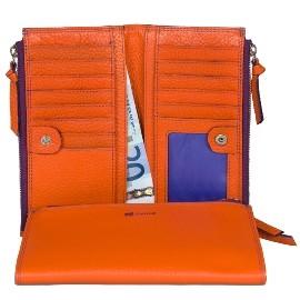 ~mywalit義大利 皮件 493~95~亮麗橘紫風情 多 長夾^(雙拉鍊零錢手機隔層^