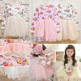貨號~B3~30183~ 花朵印花紗質連身裙 100~140cm