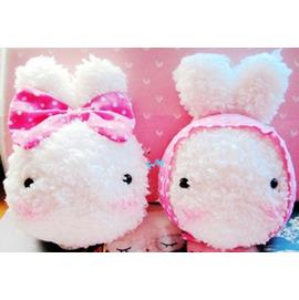 超萌可愛飯糰兔~情侶毛絨兔~頭巾款!  /手機吊飾
