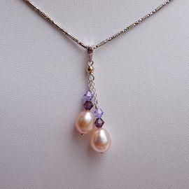 ~歡喜心 ~~珍珠Y字 墜子~天然淡水珍珠淡粉色,925純銀墜子,手創雙串式、 款,超 ^