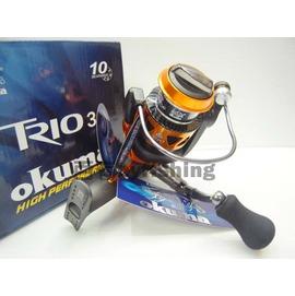 ◎百有釣具◎OKUMA 橘色版紡車式捲線器 TRIO-30型~沈老爺的最愛日本原裝進口 SILVER THREAD 尼龍線150M