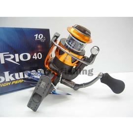 ◎百有釣具◎OKUMA 橘色版紡車式捲線器 TRIO-40型~沈老爺的最愛送日本原裝進口 SILVER THREAD 尼龍線150M