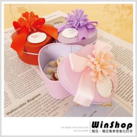 【winshop】B1339 愛心型收藏鐵盒(蝴蝶花漾緞帶)/婚禮小物包裝糖果盒禮品盒贈禮品盒喜糖盒馬口鐵盒/可印字