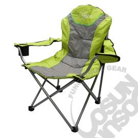 【OutdoorBase】太平洋風高背可調椅(三段式)休閒椅.豪華型.折合椅.露營椅.戶外折疊椅.改良式導演椅.管徑加粗骨架. 綠/灰 FB-047