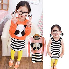 毛毛立體熊貓蝴蝶袖兩件組洋裝^(90~130CM^)